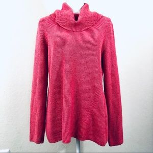 TALBOTS Cerise Pink Marled Cowlneck knit sweater